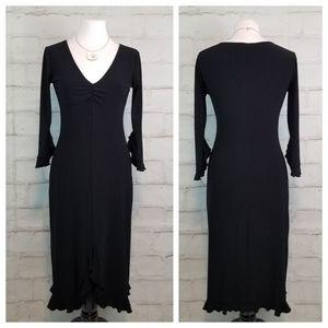 Smart Set S Black 3/4 Flared Sleeve Midi Dress
